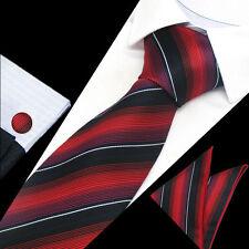 Mens Red Black White Stripe Silk Work Tie Handkerchief Hanky Cufflinks GIFT SET