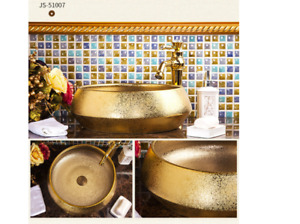 Bathroom Round Golden Paint Basin Sink Carved Wash Basin Washbasin Mixer Tap
