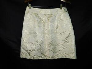 Nordstrom Halogen Size 8 Ivory Gold Floral Skirt Straight Knee Lined Side Zip