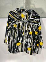 "Erin London Women's Jacket Sz L Black/White/Yellow 3/4"" Sleeve Zip Up - USED!"