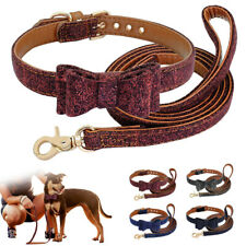 Luxury Bow Tie Dog Collars and Lead Soft Leather Padded Pet Puppy Cat for Yorkie