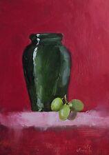 Pintura al óleo, magenta-Olla y uva 'Original impresionista Bodegón foto.
