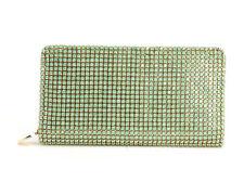NWT DEUX LUX TWIGGIE JADE GREEN GOLD RHINESTONE ZIP AROUND WALLET CLUTCH $122