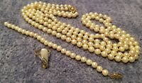 ESTATE 14K Gold Double Strand PEARL NECKLACE, BRACELET and Diamond Ring RB11
