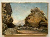 Antique Oil 19thC French Impressionist painting Langland Bay Wales Alfred SISLEY