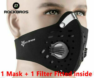 Rockbros Reusable Black Face Mask 2 Valve Cycling Sports Bike Masks Covering UK