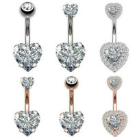 Surgical Steel Navel Belly Button Bar Ring Crystal Heart Body Piercing Jewelry