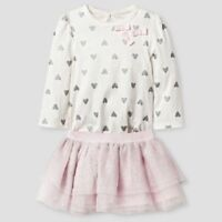 Baby Girls Cat & Jack Heart Print Bodysuit Tutu Skirt Set Shimmer Pink 6-9 M NWT