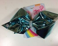 JoJo Siwa Hair Bow Large Turquoise Metallic Glitz Cheer Dance Patent Leather New