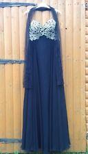 Forever Unique Black Maggie Corset Beaded Ballgown Dress & Tulle Shrug 8 10 12