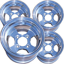 "10"" Polished Aluminum GOLF CART RIMs FOR EZGO Club Car Yamaha Par Bad Boy + more"