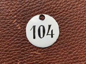 Number 104 Vintage Enamel Train Seat Numbers from Europe Lucky Number House Room