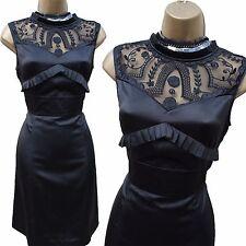 Karen Millen Silk Black Appliqué Lace Top Cocktail Party Shift Dress  10 UK