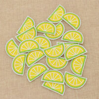 Set of 20 Fabric Green Lemon Patches Embroidered Applique Iron on Crafts Decor