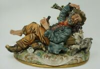 CAPODIMONTE Drunk Man Tramp Hobo w/ Dog Drinking Wine by Tree Figurine