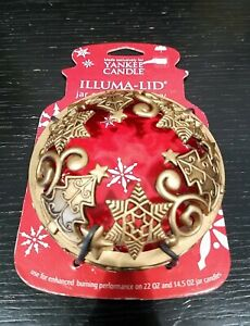 Yankee Candle Illuma Lid Gold color with Christmas Trees and Snowflakes NEW