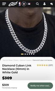 "GLD Shop Diamond Cuban Link Choker (19mm) in White Gold 22"""