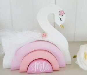 Personalised name wooden freestanding swan stacking rainbow girls gift