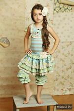 "NWT Mustard Pie Girls Sweet Pea Blue ""Kenzington"" Woven Floral Skirt - 6X"