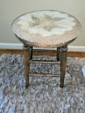 Antique Solid Wood Foot Stool W/ Vintage Floral Needlepoint Slip Cover ❤️tw11j