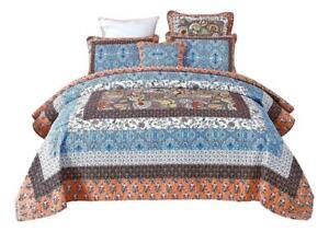 Tache Cotton Patchwork Paisley Floral Blue Orange Bohemian Mosaic Paradise Quilt