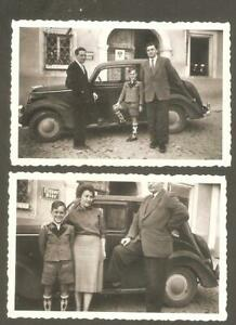 2 kleine Foto - altes Auto - in Haslach 1954 - vorm Wirtshaus
