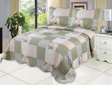 English Roses Bedding Quilt Bedspread Coverlet 3 Piece Reversible King Set