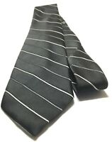 WEMBLEY Necktie Tie No Product Info Tag Black, Gray, White Striped
