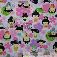 BonEful Fabric FQ Cotton Quilt Pink Geisha Girl Asian Japanese Princess B&W Dot