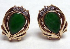 BEAUTIFUL 14 KT YG APPLE GREEN JADEITE DIAMOND ACCENT FIN EARRINGS1/2""