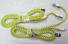 2 YELLOW IPHONE CLOTH 5 6 6S CHARGER PHONE CORD & 1 USB RECHARGABLE LIGHTER new