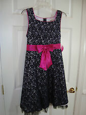 Emily West Girl's Black/White/Pink Fuchsia Special Occasion Dress 18.5 NEW