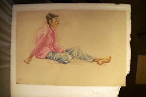 """Vintage Painting Sketch Color Pencil Drawing Hand Drawn Man Sitting On Table""""2"""