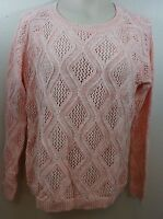 LARGE women's SONOMA PINK/White Pullover Sweater/Top 100% Cotton NWT $44