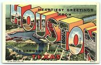 VTG Postcard Houston TX Texas Greeting Large Letter Curt Teich Linen 40's B4
