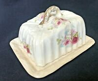 Antique Porcelain Floral China Cheese Butter Dish Gold Trim Circa 1900 Covered