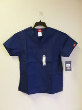 Dickies V Neck Scrub Top Womans Eds 2 Front Patch Pockets Navy # 810506 Xs-2Xl