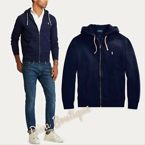 Ralph Lauren Navy Fleece Full-Zip Hoodie RRP £135 100% Genuine