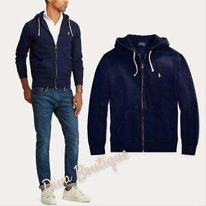 Ralph Lauren Navy Fleece Full-Zip Hoodie RRP £135 100% Genuine