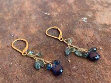 blue sapphire earrings beaded dangle drop delicate gemstone 18k gold leverback