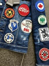 DSQUARED2 S/S 2017 FOOTBALL IDOL 48 ICON PATCHES JEANS JACKET JACKE COLLEGE STAR