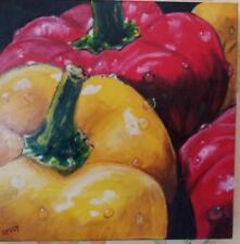 """Peinture à l'huile 3D  faite à la main 40/40cm """"poivrons """""""