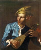 Hand painted Oil painting male portrait handsome young boy playing guitar canvas