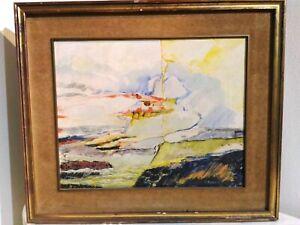 Peinture Sur Tela Abstrait Signé Frédéric Bonan 1975 58x67 CM