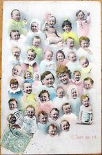 1905 Multiple Baby Postcard: Many Happy Babies, 'Jean Qui Rit'