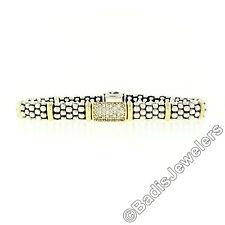 Lagos Caviar Sterling Silver & 18k Gold Pave Round Diamond 8.75mm Bead Bracelet