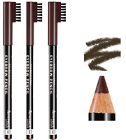 RIMMEL London Eyebrow Pencil with Brush Comb Define *PACK OF 3* *001 DARK BROWN*