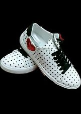 Primark Black/White Spotty Red Sequin Ladies Trainers Sneakers Pump Shoes Size 4