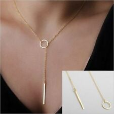 New Women Bohemian Gold Plated Long Sweater Chain Circle Bar Pendant Necklace