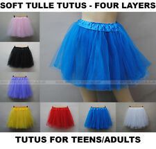 Adult Teen Soft 4 Layered Tulle Tutus Skirts Petticoat Above Knee Length Women